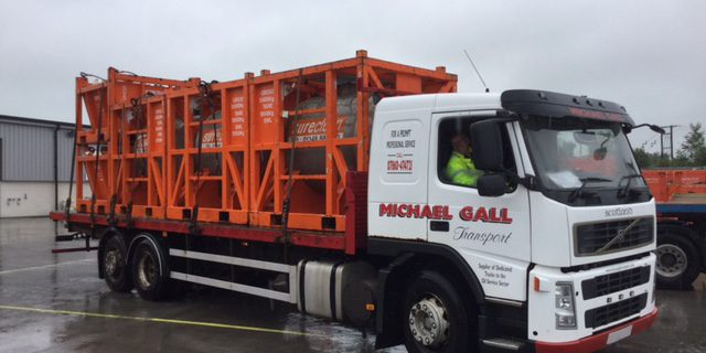 Michael Gall transport lorry carrying equipment